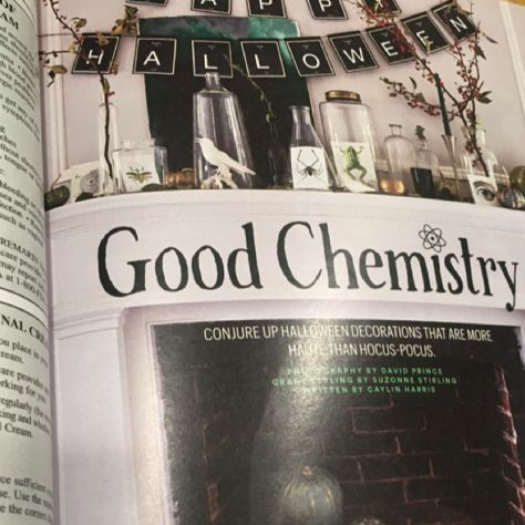 Mantelpiece for Halloween, Family Circle, Good Chemistry article