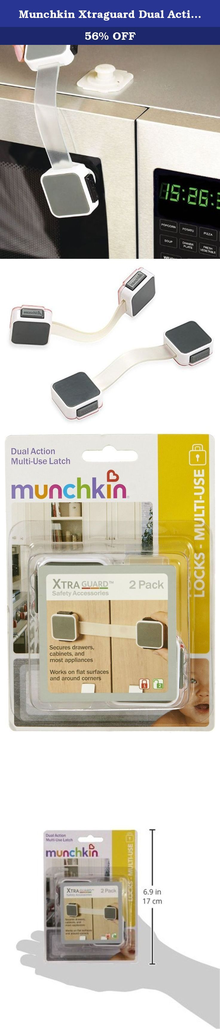 Munchkin Xtraguard Dual Action Multi Use Latches, 2 Count. Secure cabinets, drawers, appliances, toilet seats and more with the Munchkin XTRAGUARD dual action multi-use latch. This handy 2 pack features a dual button operation to release, making it hard for children to open but easy for an adult. Simply release and rotate when not in use and push back to fasten. The flexible strap allows for latching around corners. Installation is quick and simple and the included adhesive removes easily...