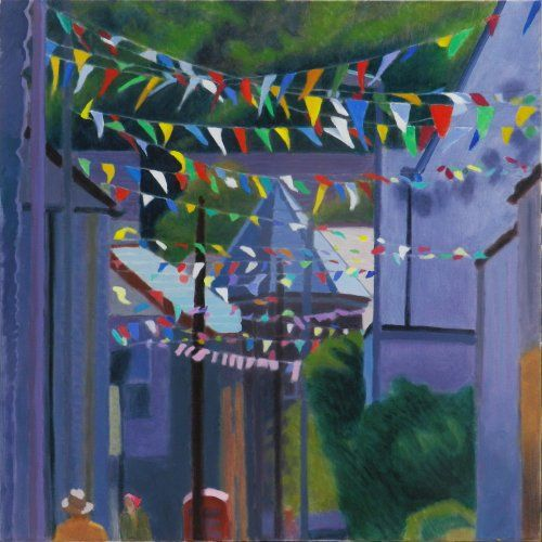 Carnival time, St Columb 80 x 80 cms Acrylic on canvas by Tom Henderson Smith. Click the picture or 'visit site' to access a link to its Artstack page where there are 'zoom' and 'view in room' facilities.