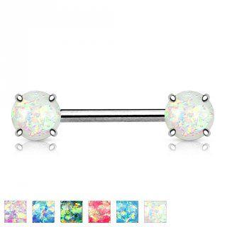UN PIERCING TÉTON EMBELLI D'OPALES MAGNIFIQUES  Ce piercing téton a une superbe opale en résine à chaque extrémité de la barre droite. Un accessoire de séduc...