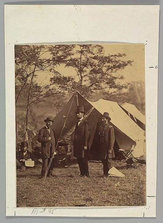 Alexander Gardner (American, 1821–1882). [President Abraham Lincoln, Major General John A. McClernand (right), and E. J. Allen (Allan Pinkerton, left), Chief of the Secret Service of the United States, at Secret Service Department, Headquarters Army of the Potomac, near Antietam, Maryland], October 4, 1862. The Metropolitan Museum of Art, New York. Gilman Collection, Gift of The Howard Gilman Foundation, 2005 (2005.100.1221)