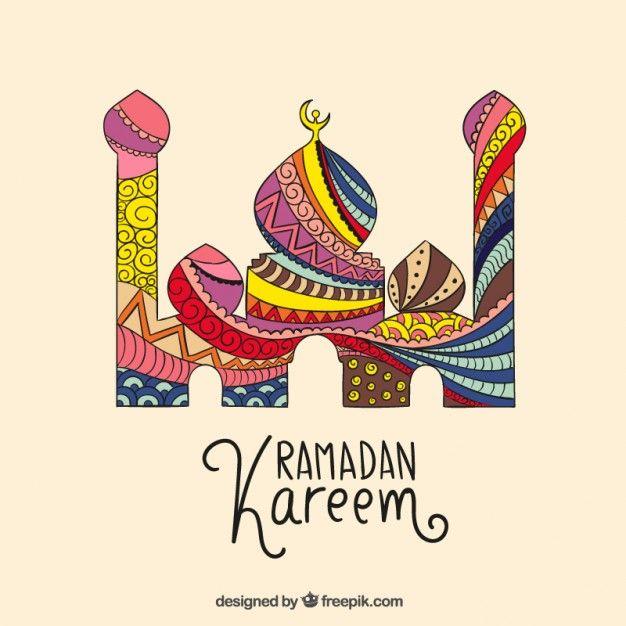 Abstract Ramadan Kareem mosque Free Vector