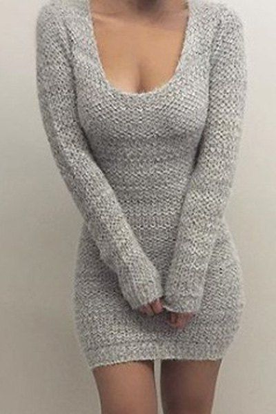 Pure Color Long Sleeve Bodycon Sweater Dress