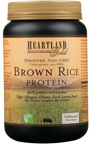 My favourite so far, Heartland Gold unflavoured Organic Brown Rice Protein powder, 80% protein, sprouted, non-gmo, no gluten, soy or lactose. Also available in vanilla or chocolate. 1 small scoop adds 16 grams of protein to your smoothie!