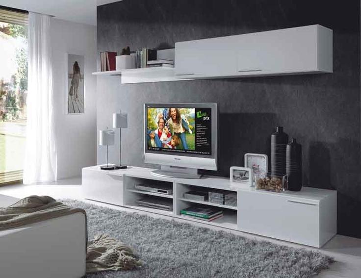 Librería ATHO 260 cm color blanco  Módulo bajo 2 puertas + 4 espacios multimedia. Módulo alto con puerta elevable + estante pared. €199
