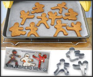Ninjabread Men Cookie Cutters  $8  Hu-tah! We're totally digging on this set of 3 stealthy shinobi warrior cookie cutters. Adding swords, nunchaku, or shuriken stars with icing and toothpicks equals a sell out at the next bake sale.