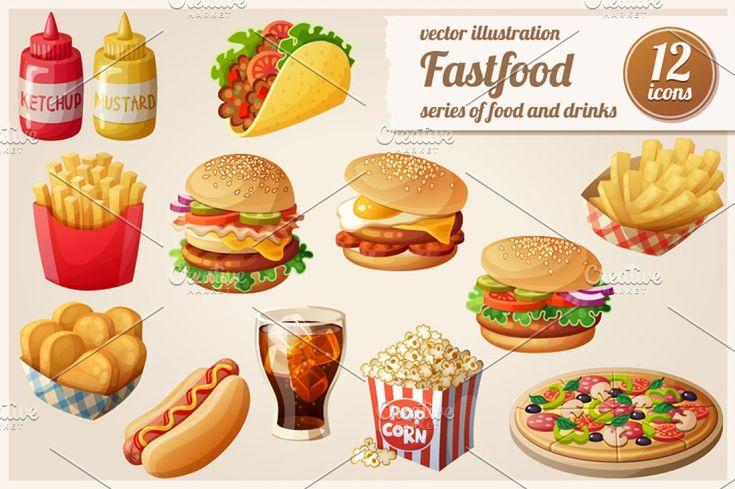 Cartoon fast food vector icons set fries potato wedge box sweet vector ketchup c…