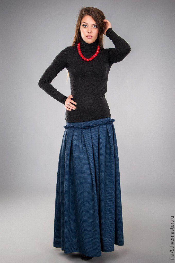 Купить Темно синяя Джерси Юбка Макси - темно-синий, в клеточку, длинная юбка