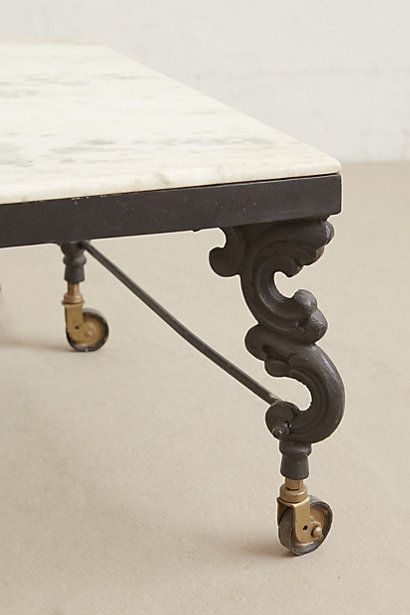 Marble top coffee table just love wrought iron and legs for Marble and wrought iron coffee table