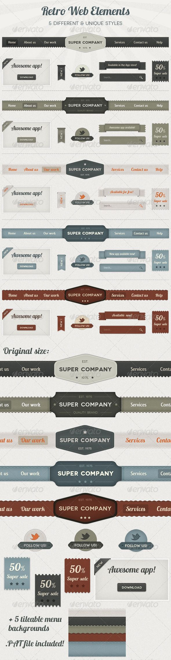 Premium Retro Web Elements #ui #webdesign