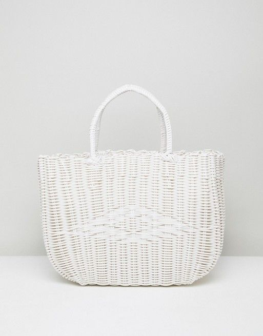588938aa23843 Bershka – Weiße Shopper-Tasche in Korbgeflechtsoptik