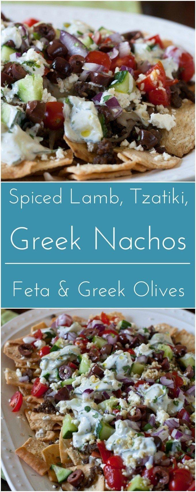 Loaded Greek nachos with Spiced Lamb, tzatziki, feta and Greek olives. (summer food foodies)