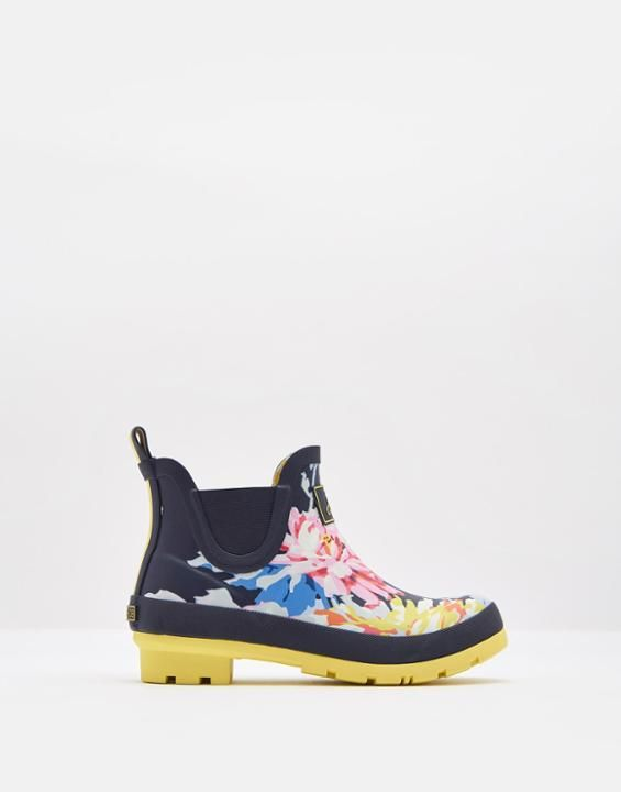 Joules US WELLIBOB Womens Short Rain Boots Navy Whitstable Floral