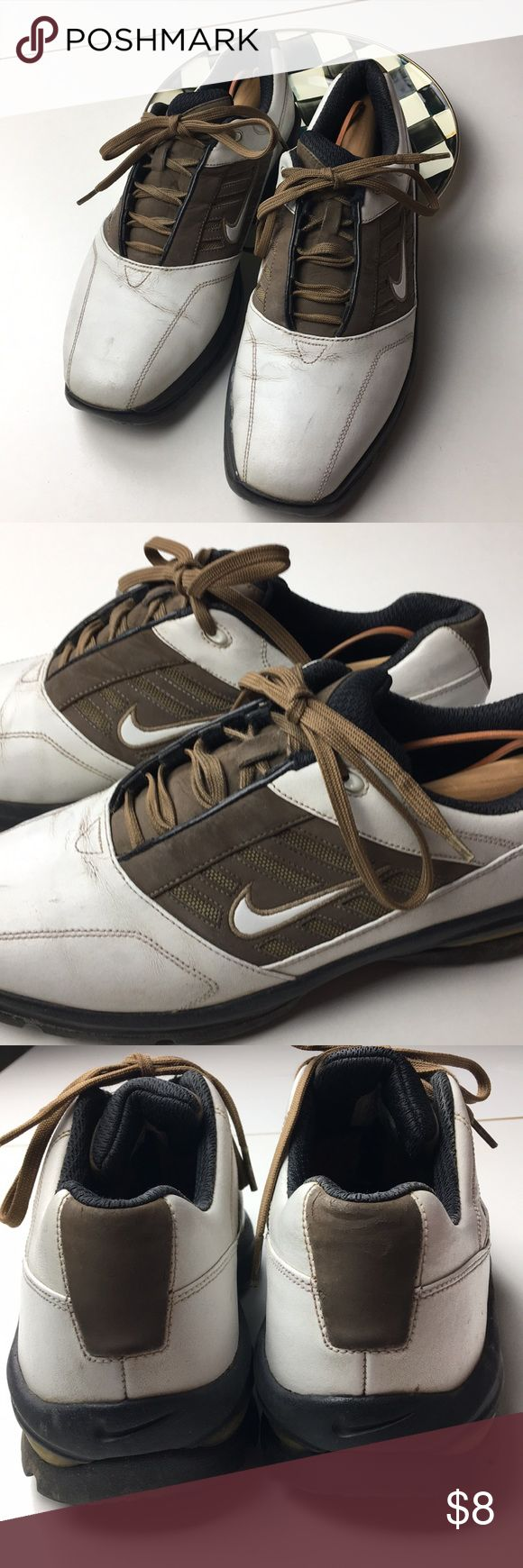 Men's Golf Shoes, Nike Golf, Spikes, Sports Size 10 Nike Golf Shoes.  There is a little wear near the lace at top. Still great Shoes especially for new teen golfer or on a day when weather is bad. These were my sons extra pair just for that reason. Nike Shoes Athletic Shoes