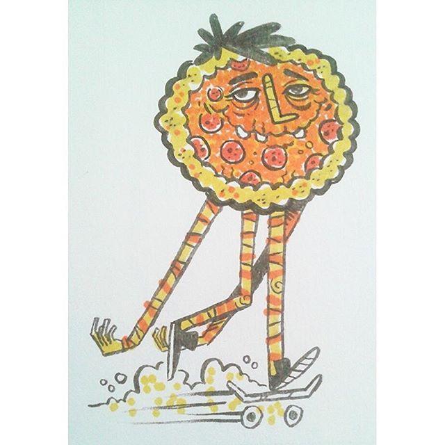 """Pizza Buddy""  #kenny_poppins #dailydoodle #drawing #ink #markers #pizza #skateboarding #siebenfan @sieben_up"