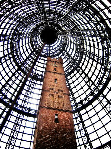 An old tower built inside an new shopping complex in Melbourne.