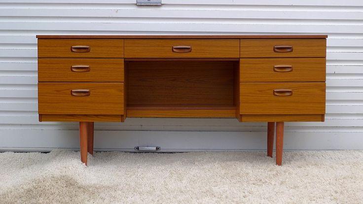 Teak Vanity Desk Dressing Table by Schreiber