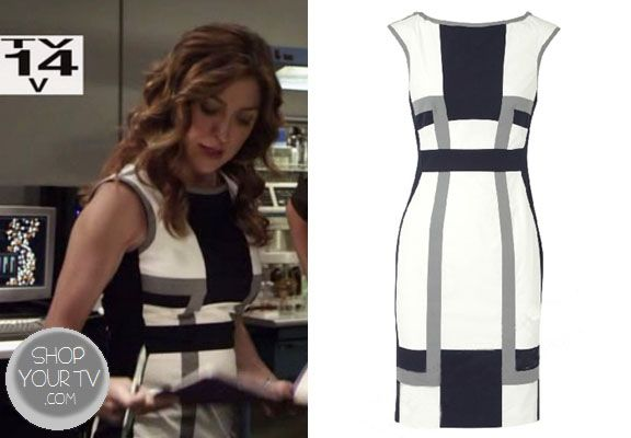 Dr. Maura Isles (Sasha Alexander) wore this blue, white, and grey color block dress in an episode of Rizzoli and Isles.