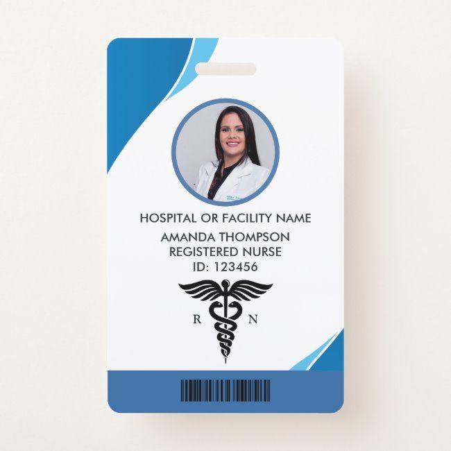 Modern Blue Geometric Registered Nurse Photo Id Badge Zazzle Com