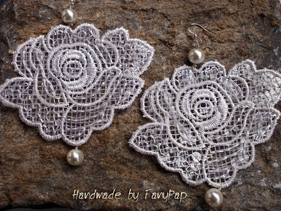 Bridal lace rose earrings of white color with by HandmadeByFanypap, $14.15