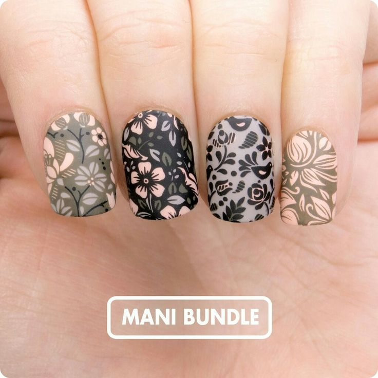 Amazing stamped manicure by MoYou London! Get this look with a mani set that includes 2 stamping plates and 4 polishes! And their sets are a fantastic deal for $50! #manigoals