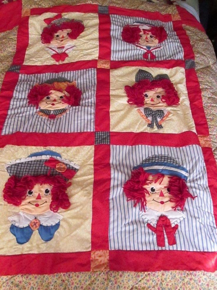 Raggedy Ann & Andy Quilt 3 Shams Applause 3D Yarn Hair Wall Throw  #Applause #Quilt3Shams