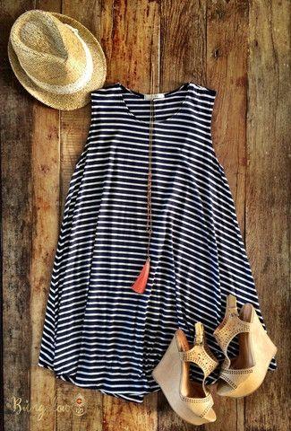 Black striped dress, espadrilles, fedora