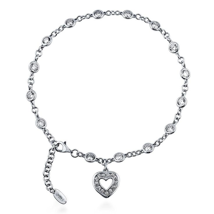 Rhodium Plated Sterling Silver Cubic Zirconia CZ by the Yard Open Heart Charm Anklet 9' 1' Extender *** Check out this great product. (This is an Amazon Affiliate link and I receive a commission for the sales)