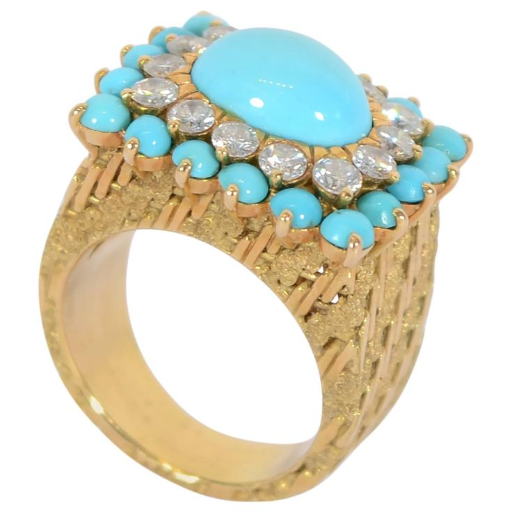 Turquoise Diamond Gold Cocktail Ring   From a unique collection of vintage cocktail rings at https://www.1stdibs.com/jewelry/rings/cocktail-rings/