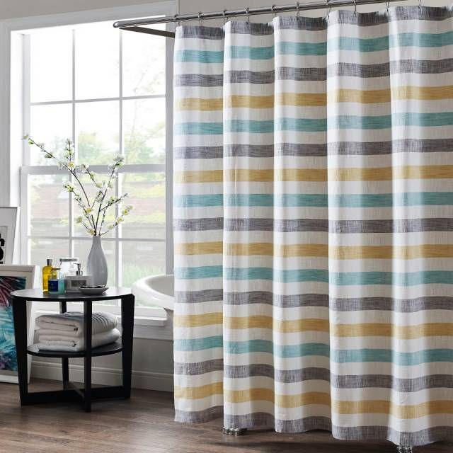 Give Your Bathroom A Touch Of Modern Style With The Kas Room Greta Shower Curtain Featuring Colorful Stripes In Streamlined Design This Chic