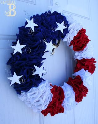 "Patriotic wreath created by Sky Buffat .....great tutorial on her blog and for sale in her Etsy Shop Creative Sky -   Sky's Blog is ""Creative B"" - http://ssbuffat.blogspot.com/2012/02/out-of-season-in-demand.html"
