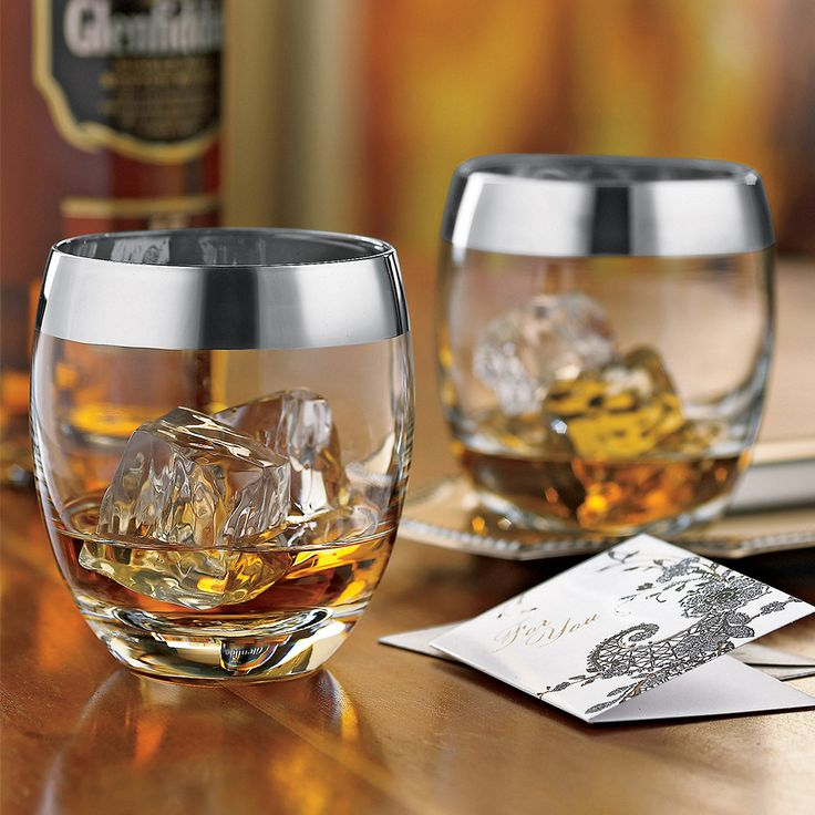 Silver Rim Whiskey Glasses - Drink like a madman