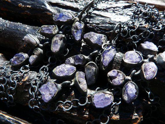 raw tanzanite necklace tanzanite birthstone necklace by BeijoFlor