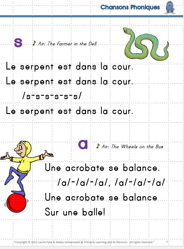 Kindergarten, Grade one, and anyone learning the #French Language. Learn the sounds of the French Language through familiar songs. Develop automatic recall of the #soundandletter connection with these classroom charts!  Blend and Segment sounds.   Includes a 1/4 page booklet for center activities... or to send home! Complements 'Le manuel phonique' by Janet Mozan et Sue Lloyd published by Jolly Learning Ltd.  (Available in Print Letters or Sassoon Font.)  #JollyPhonics  | #French