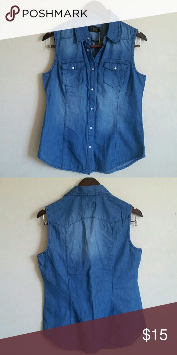 Sleeveless Denim Shirt Sleeveless Denim Shirt Tops Blouses