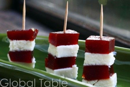 brazillian romeu e julieta (easy snack or dessert) -- guava paste and white cheese stacks