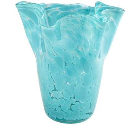 "Ruffled Turquoise Glass 10 1/4"" High Vase"
