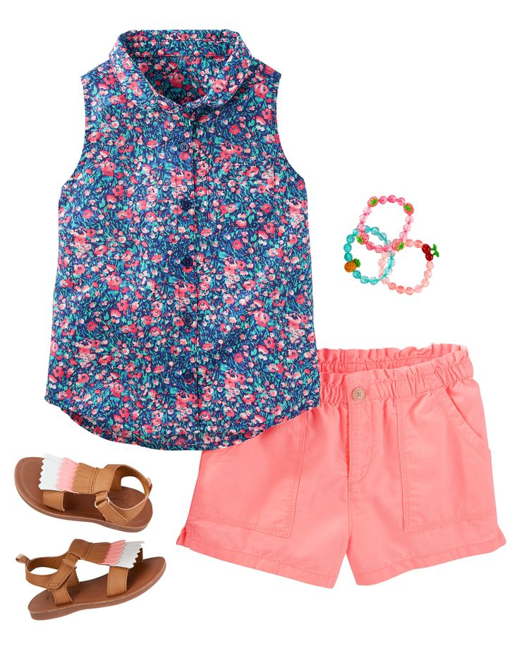 With sweet florals and a peter pan collar, this button-front + beach shorts are …