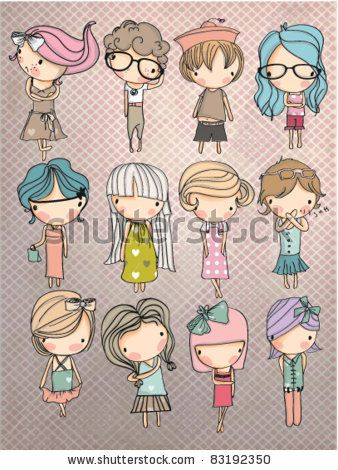 cartoon children set with background by yusuf doganay via shutterstock