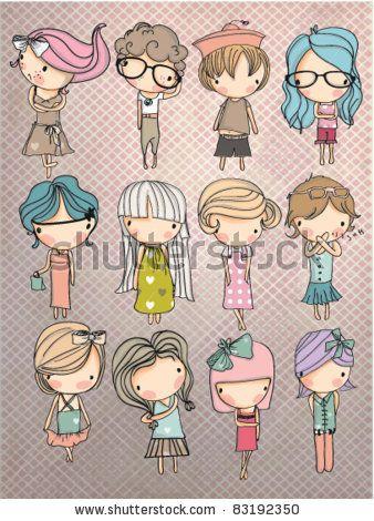 stock vector : cartoon children set with background