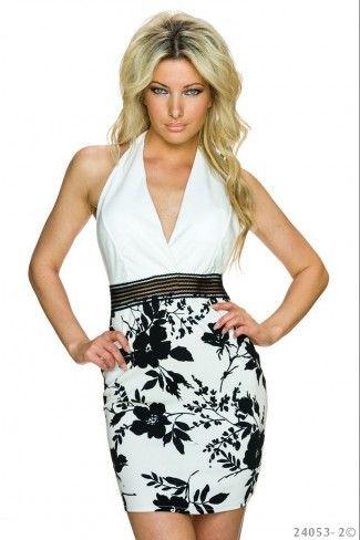 Εξώπλατο μίνι φόρεμα με φλοράλ print - Άσπρο