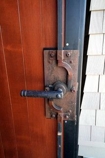 Love this door locking mechanism. Great looking. Functional.