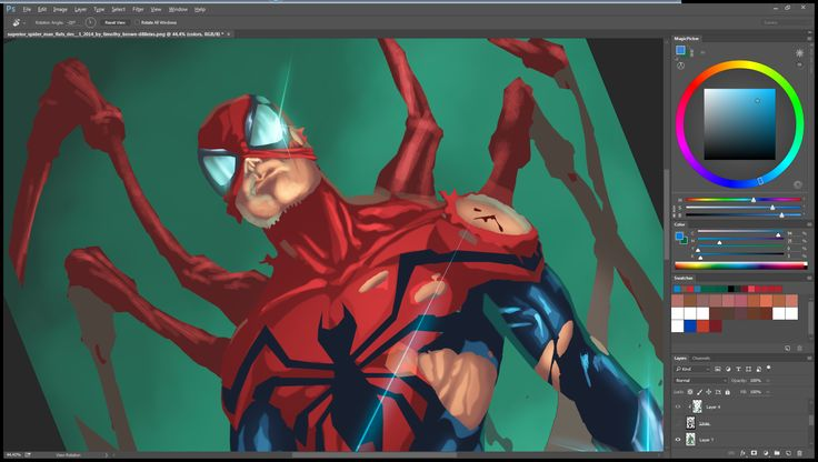 WIP 03 of the Superior SpiderMan that i colored (almost done). #comics #Marvelcomics #spiderman #superiorspiderman #makecomics  Pencils by Marcio Abreu  Inks by Devgear Flats by Timothy Brown Colors by Nimesh Morarji (me)  Dont forget to LIKE my page on facebook (https://goo.gl/Y7Dl4k ) so you can see the hi res version of the final image ;)  If you like my colors and you need someone to color for you, feel free to drop me a message