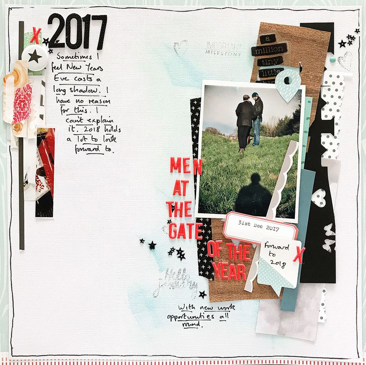 Men at the Gate of the Year by Sian Fair; Scrapbooking Ideas for Using Paper Strips to Design Page Foundations - Get It Scrapped