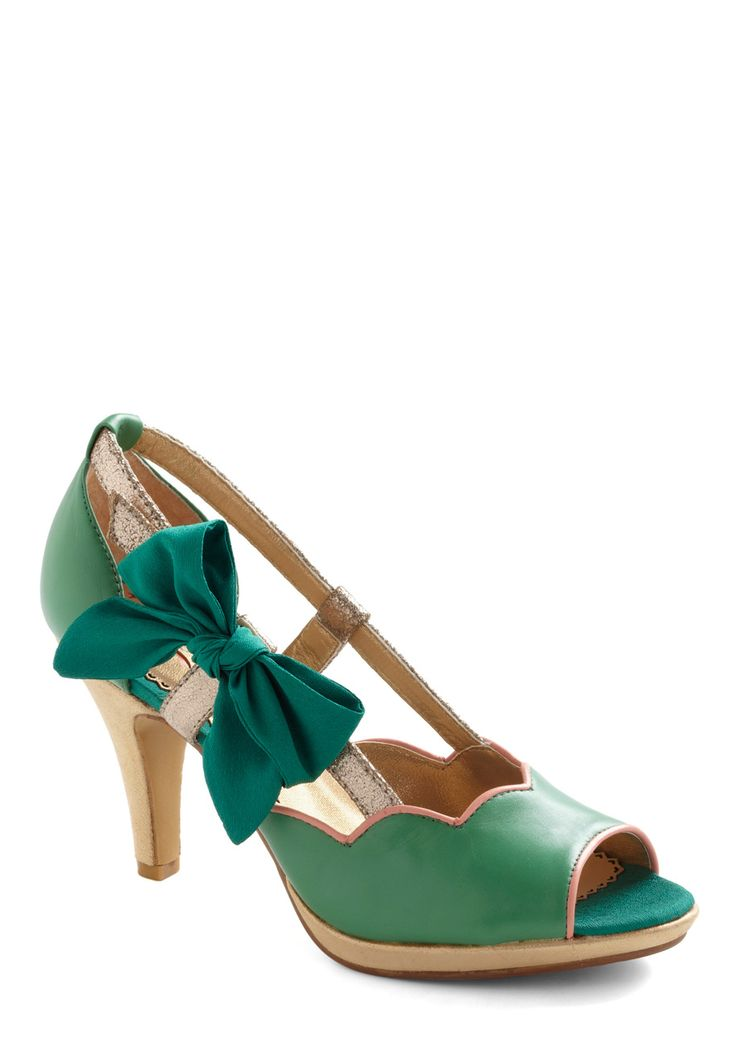 Save the Grass Dance Heel by Poetic License - Green, Solid, Bows, Mid, Best, Peep Toe, Pink, Gold, Scallops, Formal, Party