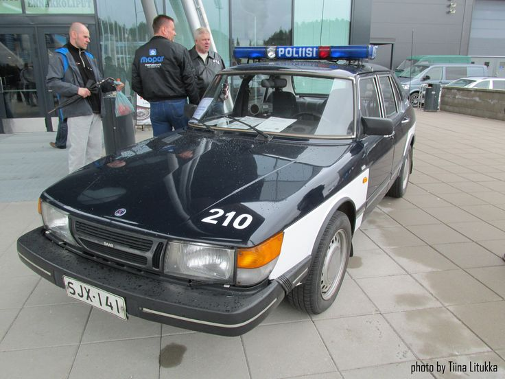 Saab, old police car in Finland 5.2.2015, Lahti, Finland