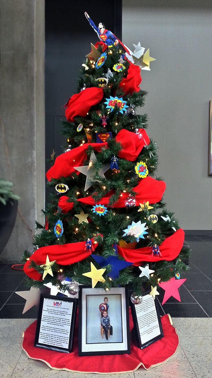 Superhero Christmas Tree!  We honoured our Super Hero Max with this Superhero themed Christmas tree for the Winnipeg Festival of Trees and Lights in support of the Childrens Rehabilitation Foundation. #Christmas #Superman #Superhero #Sickkids