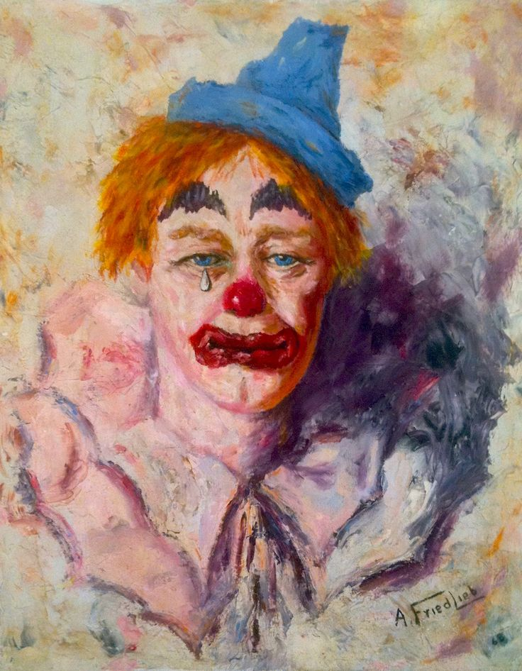 clown art | color coordinated cast offs and of course a 1960s sad clown painting