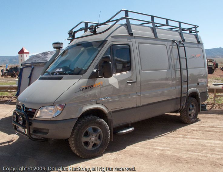 Beautiful shot of Tom Tasso's 2006 (T1N) Sprinter 4x4 conversion. This van was a prototype project done by Portland's Sprinter Store in conjunction with the South African company Sportsvans. Mercedes decided they would eventually import their own factory 4x4 Sprinters into the US, so dropped their support. However, the Sprinter Store (www.sprinterstore.com) has now engineered their own NCV3 Sprinter 4x4 conversion.
