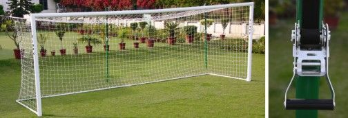 Vinex Soccer Goal Post - Competition: Vinex introduces Competition Goal Post made of reinforced powder coated Aluminium profile with welded corners for accurate and sturdy installation. Includes pre-installed net hooks, goal net, hot dip zinc galvanized pole sockets and net height adjuster poles.